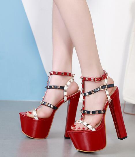 Womens Sexy Rivets Buckle T-strap Sandals High Block Heels Platform Stilettos H8