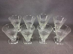 Detalles De Lote 8 Antiguos Cristales Vaso Aperitivo En Parte Esmerilado Vintage Decorado