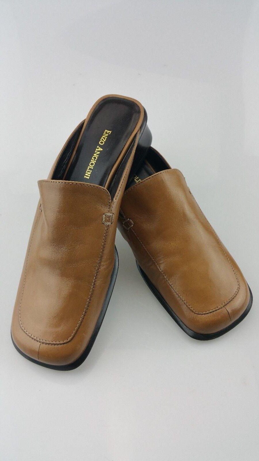 Enzo Angiolini Rondo Tan Leather Square Toe Mules Slide Womens Size 6-1 2 Medium