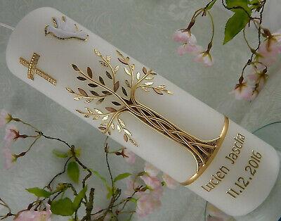 Taufkerze Kerze zur Taufe Lebensbaum gold mit Taube Taufkerzen Junge Mädchen
