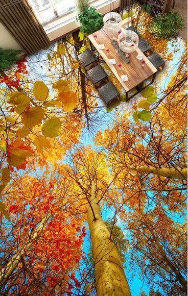 3D Arbres 051 Fond d'écran étage Peint en Autocollant Murale Plafond Chambre Art