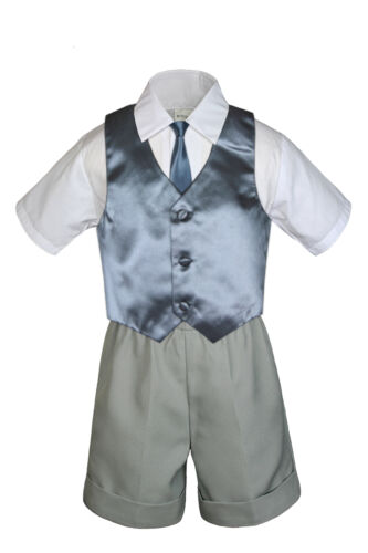 4pc Boys Toddler Formal Baby Gray Shorts Color Vest and Clip on Necktie S-4T