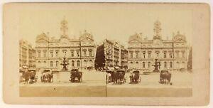 Lione Hotel De Ville Francia Foto Stereo PL55L4n Vintage Albumina c1868