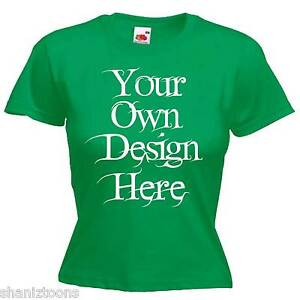 Ladies-Womens-Green-T-Shirt-Personalised-Text-Logo-Custom-Design-Hen-Night-Party