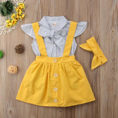 US 3Pcs Kids Baby Girls Dress Romper Bodysuit Suspender Skirt Overalls Clothes