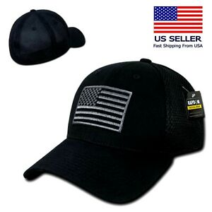 Nero USA US bandiera americana Operatore Tattico Mesh Flex Fit Baseball Hat Cap