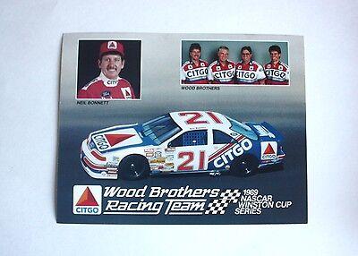 Neil Bonnett Postcard 1989 #21 Citgo Ford Wood Brothers Racing 8 1/2 X 11 Nascar