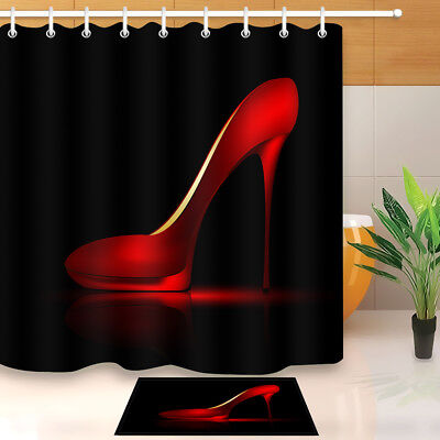 Hand Drawn Lady Pink High Heel Shoes Fabric Shower Curtain Set Bathroom Decor