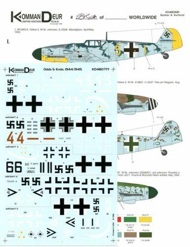 Kommandeur Decals 1:48 Odds and Ends Bf109 Bf-109-1944//1945 #KD4807Ff
