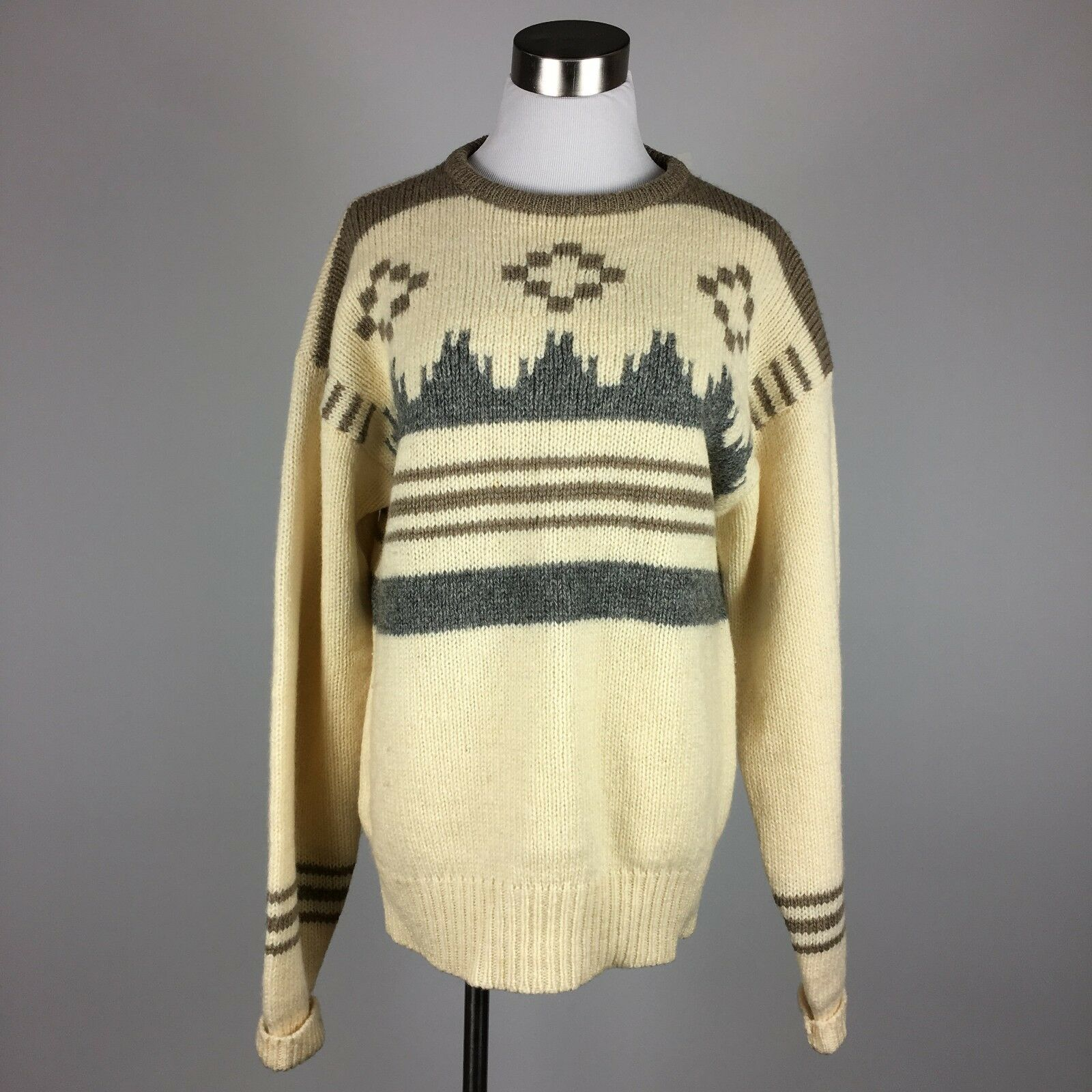 Pringle Sports Scotland  Herren Vtg Pullover Sweater L Shetland Wool Braun Taupe