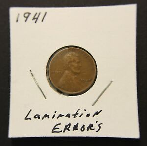 Details about 1941 1C Lincoln Wheat Penny One Cent LAMINATION ERRORS