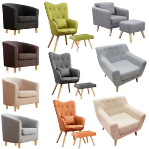 Perfect Image Is Loading Modern Fabric Tub Chair Accent Armchair Footstool Set
