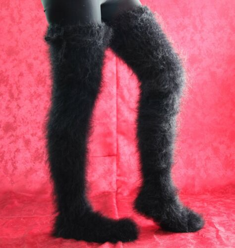 SUPERTANYA BLACK Hand knitted mohair socks fuzzy stockings leg warmers ON SALE