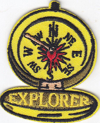 """""""EXPLORER"""" COMPASS PATCH - HOBBY - CAMPING - HIKE - Iron On Embroidered Patch"""