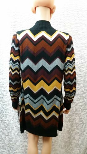 Chevron Tan Kvinder Frakke Nwt Cardigan Sweater Missoni Famiglia Small Brun Sort tYxqg7w