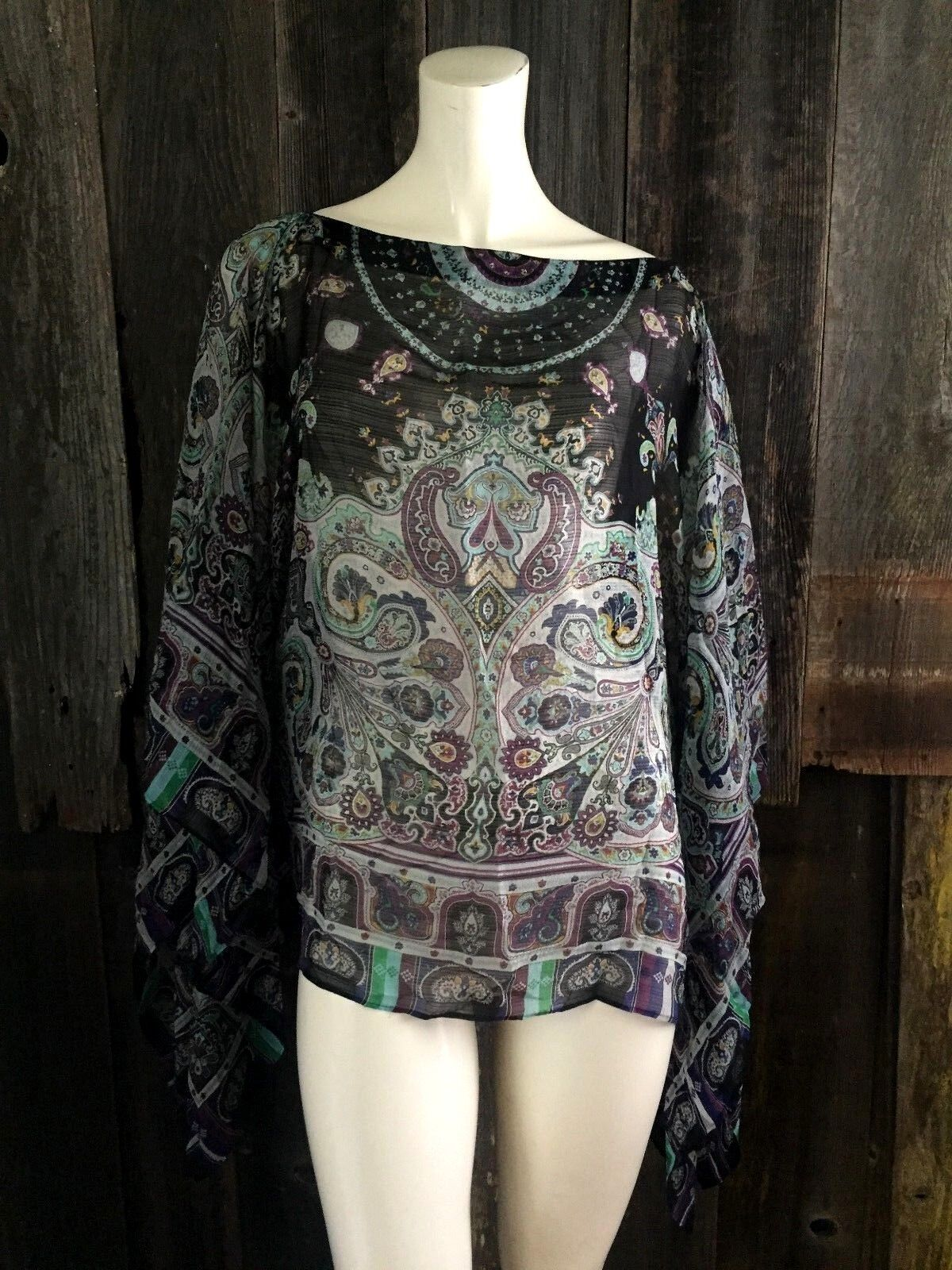 Etro Geometric Top Scarf Print Shawl Butterfly Poncho Floral Tapestry 100% Silk