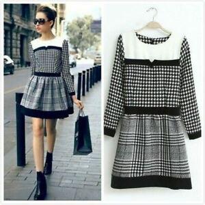 Uk Womens Ladies Tartan Dogtooth Long Sleeve Dress Size 4 6 8 10 12 14 Ebay
