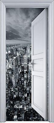 Sticker porte trompe l'oeil déco New York 90x200 cm réf 2109