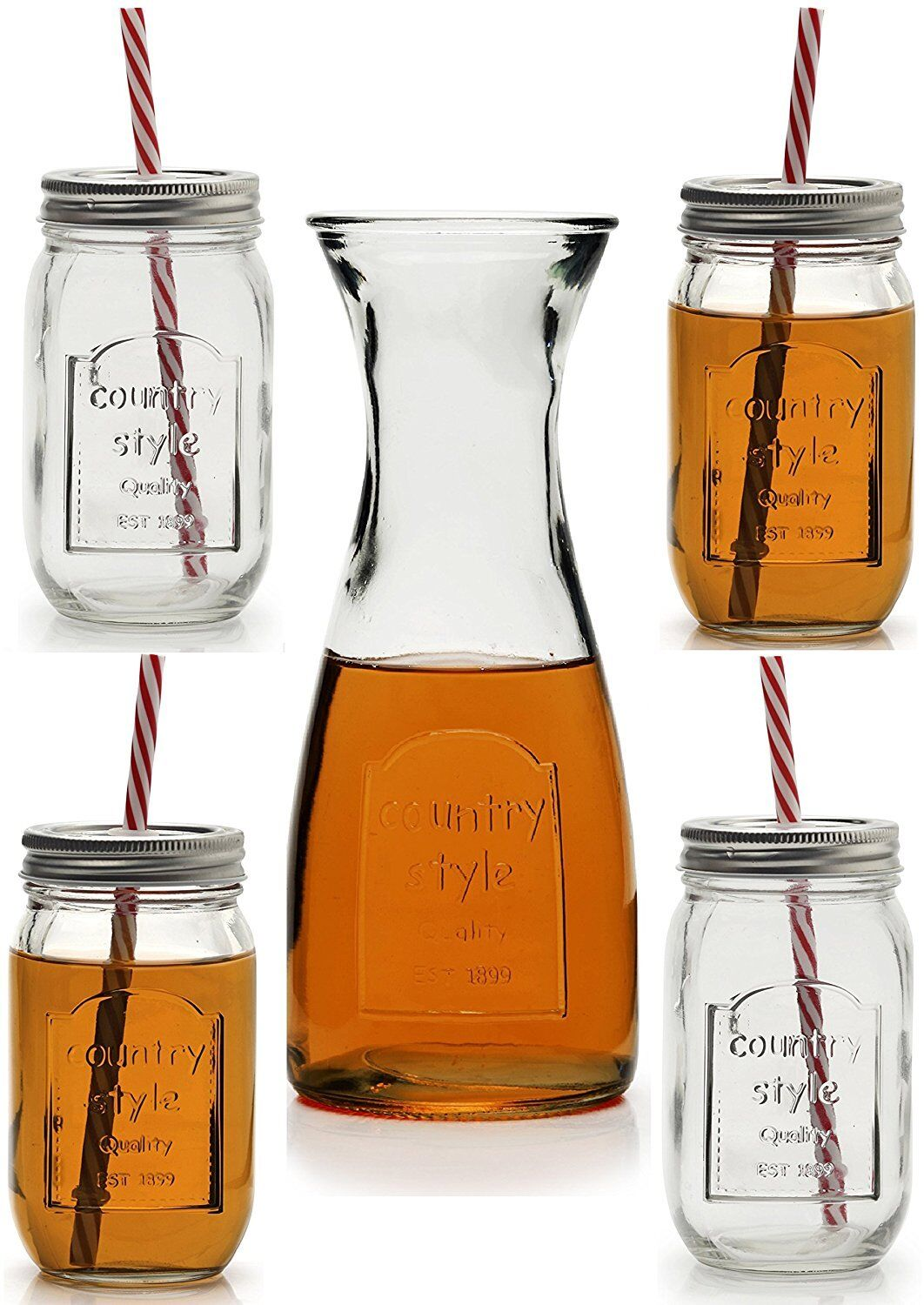 Circleware Country Country Country Style 9-Piece Clear Set Glass Yorkshire Mason Jars with Lids 0ae3e7