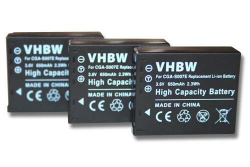 3x batería para PANASONIC LUMIX TZ3 TZ4 TZ5