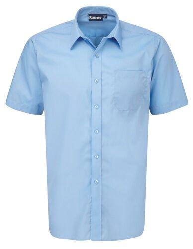 BANNER Pack of 2 Boys School Short Sleeve Blue Shirts