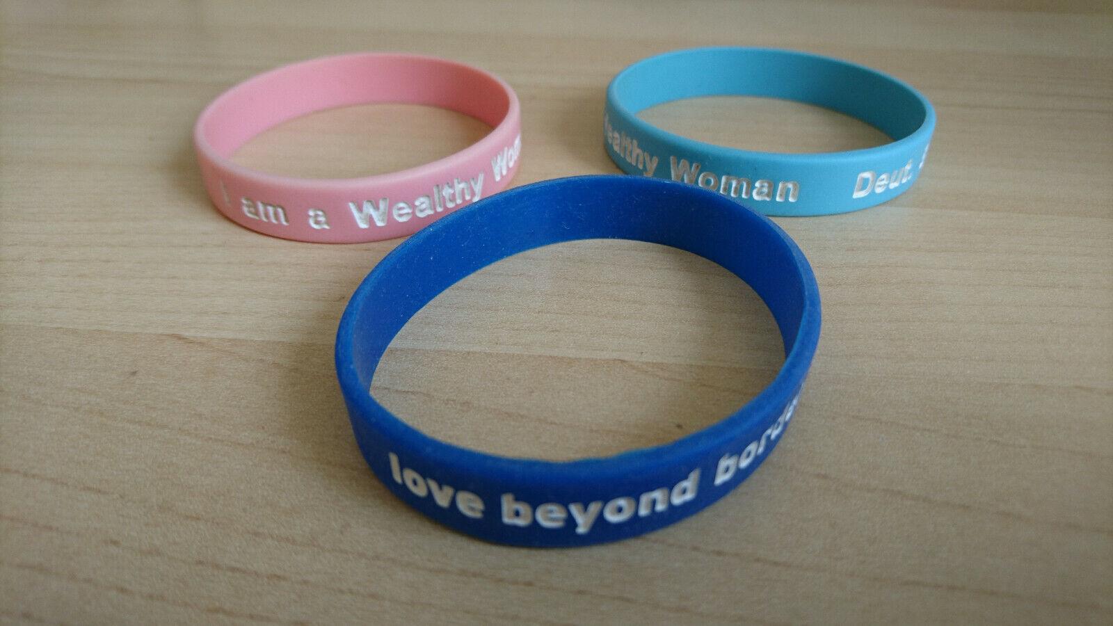 3 bracelets: I am a wealthy woman Deut 8:18 in pink & blue + Love boyond borders
