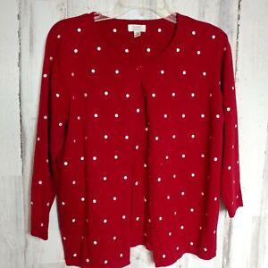 Baxter-amp-Wells-Cardigan-Sweater-Women-039-s-Size-Medium-Red-White-Polka-Dot