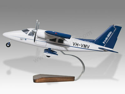 Airlines Vulcanair P68c Redcliffe Aero Club Solid Mahogany Wood Handmade Desktop Model Easy And Simple To Handle