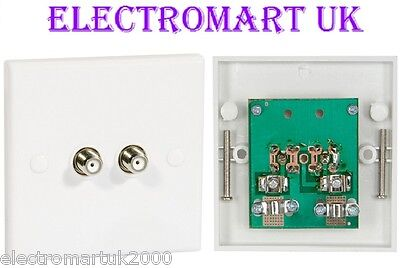Double F Type Coax Coaxial Wall Socket Plate Tv Satellite
