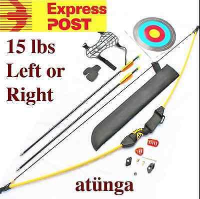 """NEW Kids 15lb Longbow Archery Set Target Bow &  Arrow Arrowsport """"Sapper"""" Yellow"""