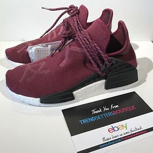 fef8a3c4f41f ADIDAS HU NMD PHARRELL HUMAN RACE BURGUNDY UK 7 7.5 FRIENDS   FAMILY ...