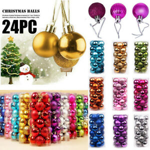 24PC-Christmas-Xmas-Tree-Ball-Bauble-Home-Party-Ornament-Hanging-Decor-3CM-USPS