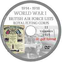 British Air Force Lists WW1 PDFs, RFC, DVD 11 volumes Royal Flying Corps 1919