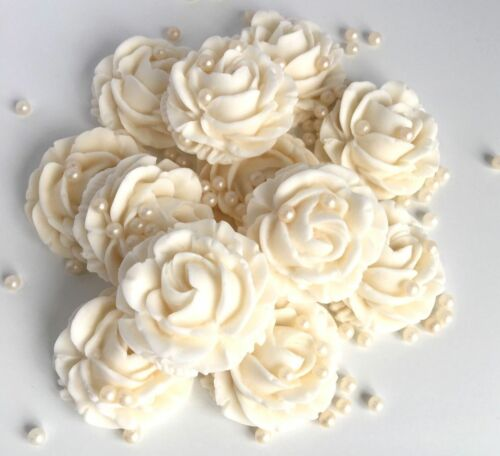 Ivory Roses /& Ivory Pearls Sugar Edible Flowers Wedding Cake Topper Decorations
