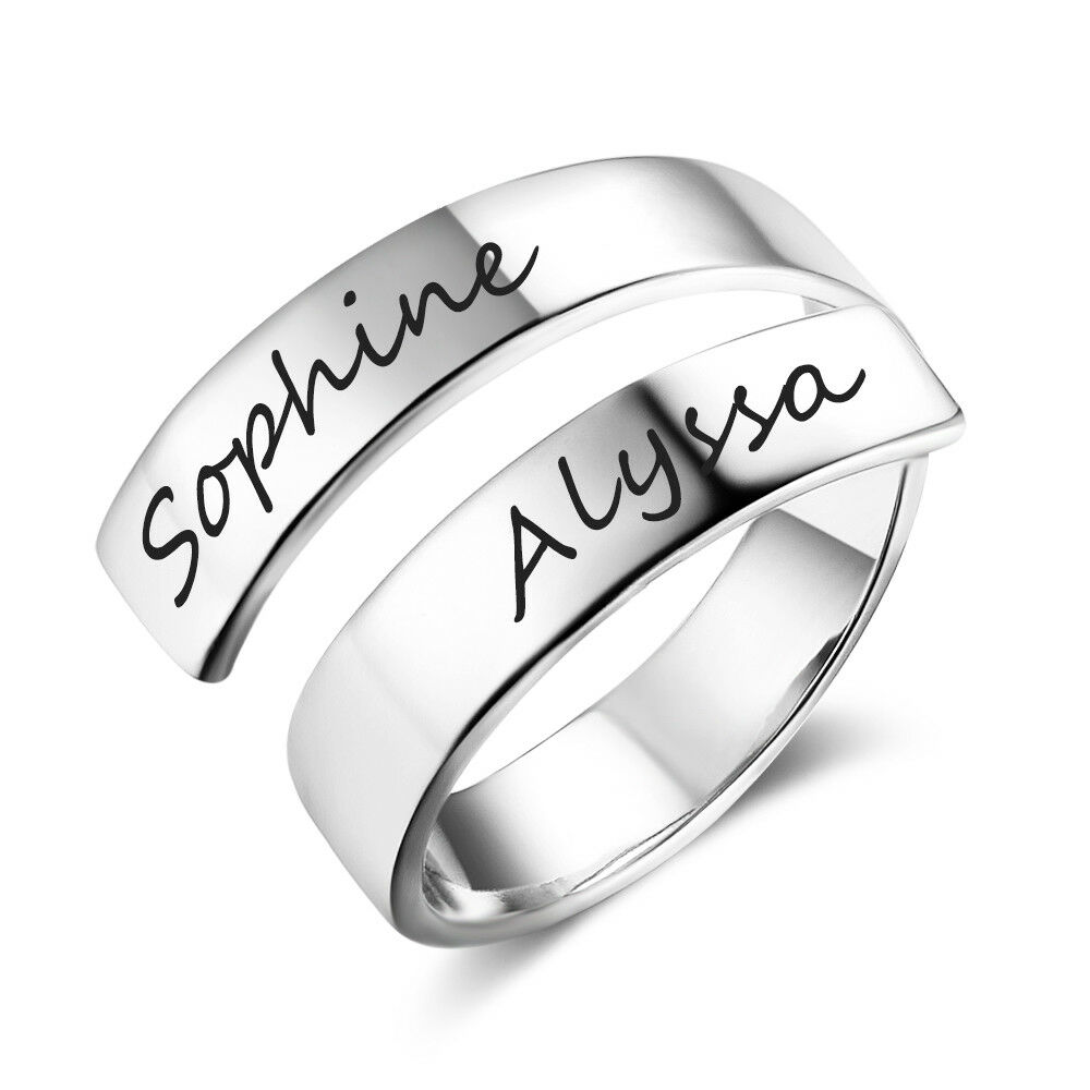 Personalized Promise Ring Adjustable Custom Engraved Names C