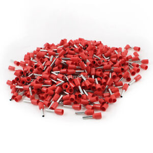 1000 Pcs E1508 AWG 16 Wire Copper Insulated Tube Head 8 mm Long Pin Terminal Red
