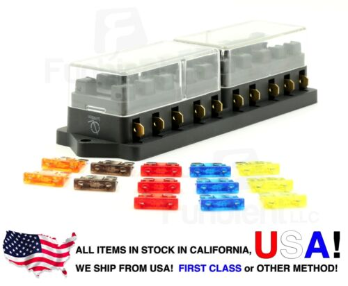Lumision 10 Port way Automotive ATO ATC APR Fuse Block Terminal 13 Fuse-Set Pack