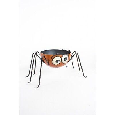 Halloween Metal Large Orange Spider Candle Holder Halloween Decoration Dish NEW