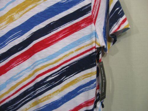 White /& Blue Zip Shoulder Short Sleeve Top NWT Alfred Dunner Studio Women/'s Red