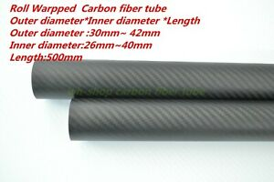 0.5mm wall 1 x OD 23mm x ID 22mm x 1000mm 1M 3k Carbon Fiber Tube Roll Wrapped