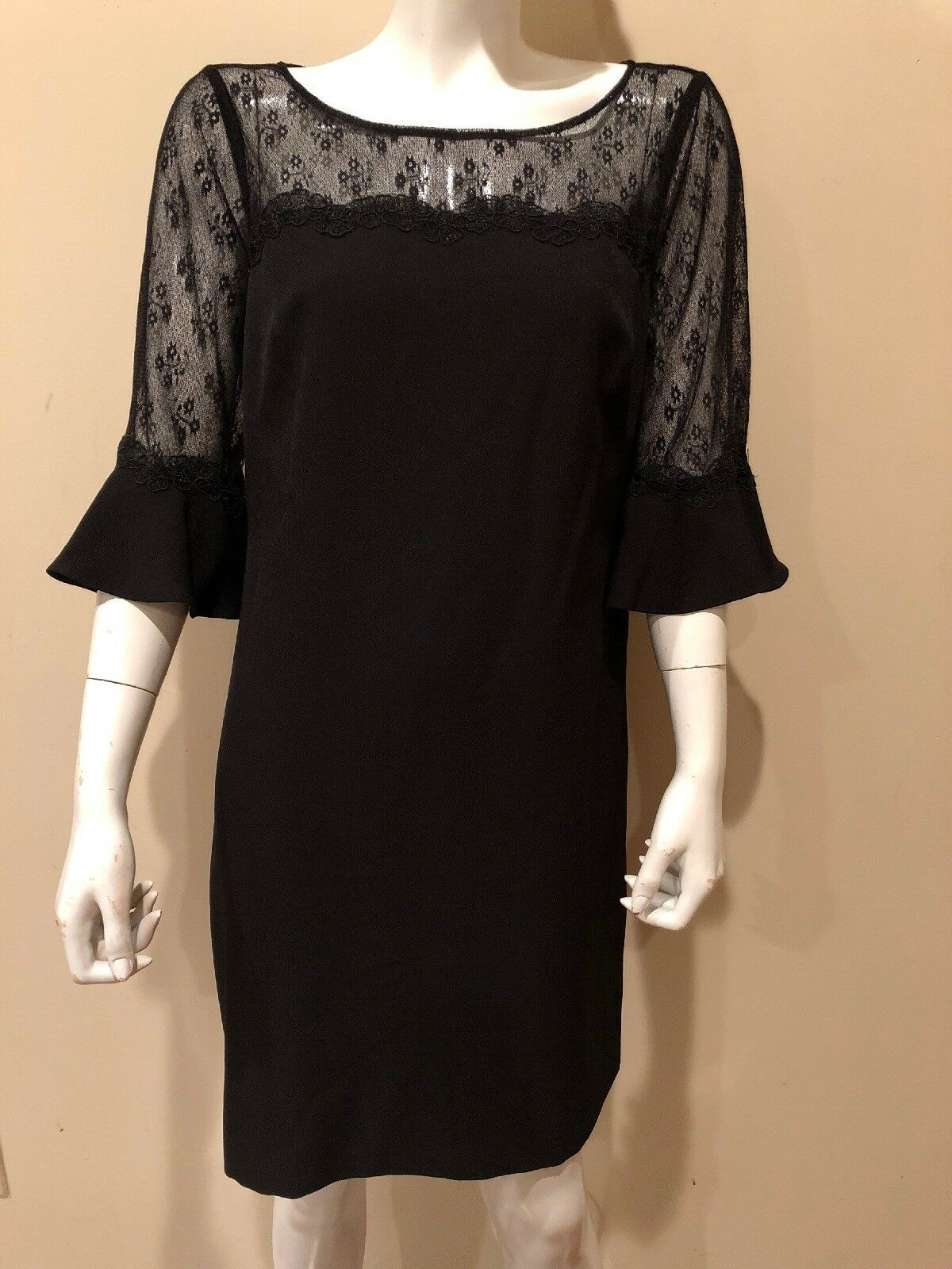 Adrianna Papell Lace Illusion 3 4 bell sleeve Sz 10 schwarz dress  New