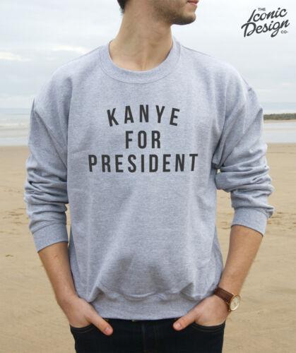 * Kanye For President Jumper Top Sweater Sweatshirt America USA West Vote 2020 *