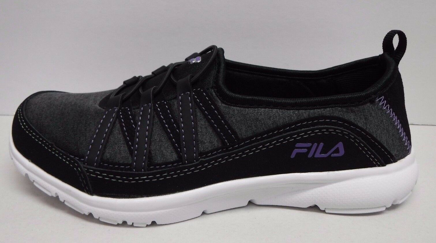 Fila Fila Fila Size 8 Black Memory Foam Breathable Slip On Sneakers New Womens shoes 1b4939