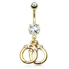 Gold Plated Surgical Steel CZ Belly Bar / Navel Ring With Dangle Gem Handcuffs