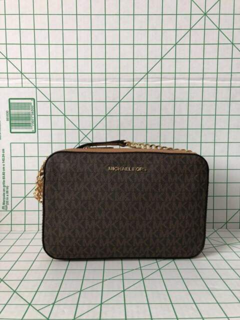 8491d4302548 Michael Kors Large Brown Signature PVC Leather Crossbody Messenger ...