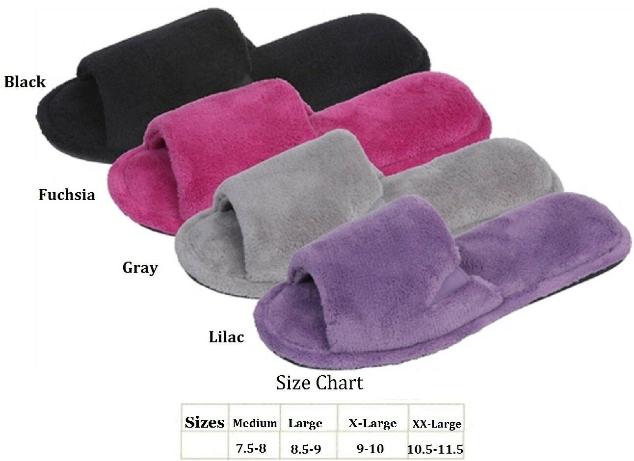 WOMENS TERRY PLUSH HOUSE SLIPPERS BLACK FUCHSIA LILAC GRAY M L XL XXL
