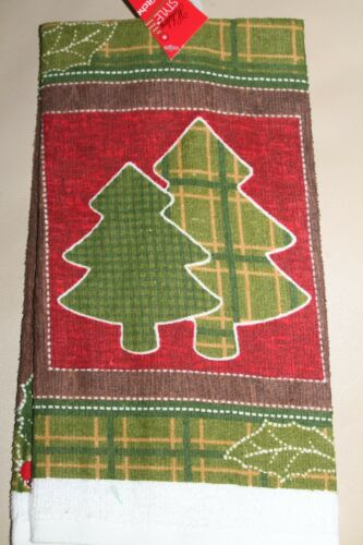 WINTER PRINTED KITCHEN DISH TOWEL CHRISTMAS TREES PATCHWORK STYLE HUNTING LODGE