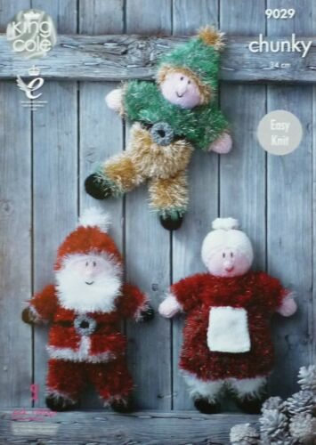 KNITTING PATTERN Santa Claus Mrs Christmas /& Elf Tinsel KNITTINGPATTERN 9029