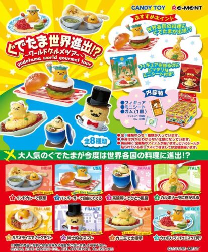 Re-Ment Miniature Sanrio Gudetama Gudetama World Gourmet Tour Full set of 8