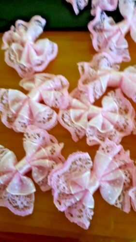 8X45//40mmAPROX LACEY BOWS NICE FOR CRAFT AND HEADBANDS IN PINK